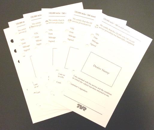 TVR Cerbera Service Cards