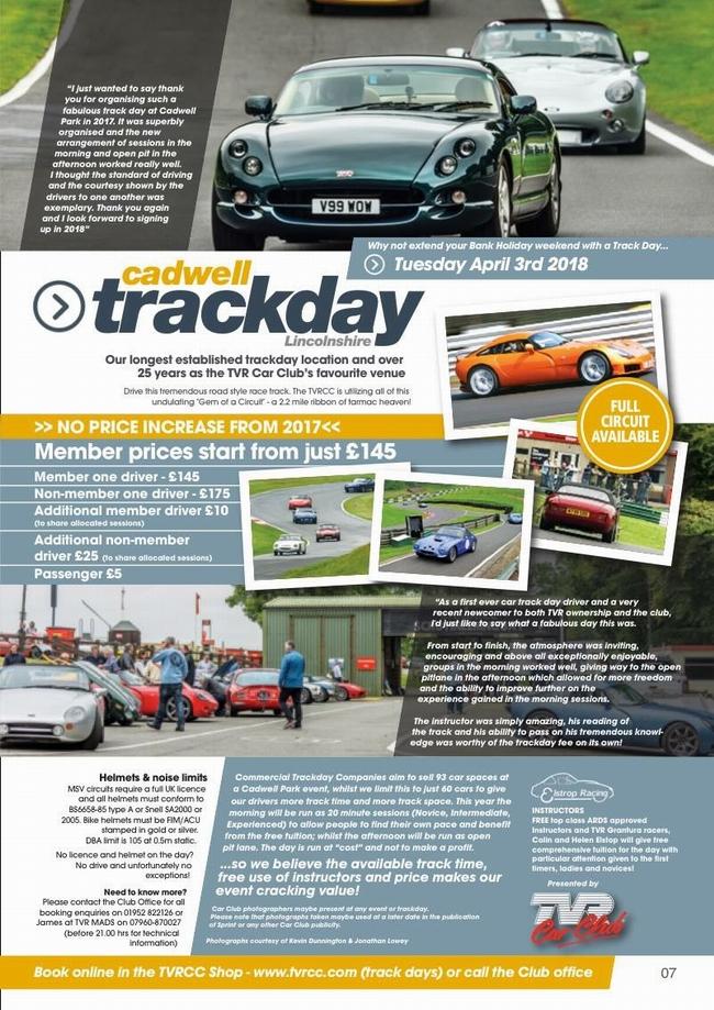 TVRCC magazine track day ad