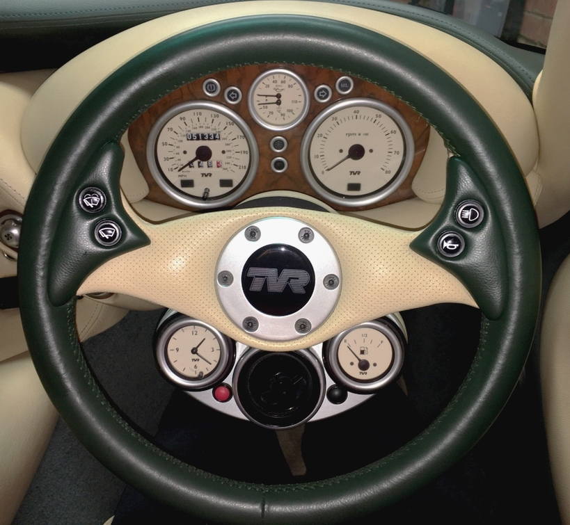 tvr cerbera steering wheel re-trimmed